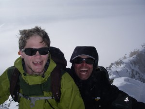 Tim Abbott and Doug Gormley summit photo on the South Teton Jan. 29, 2010